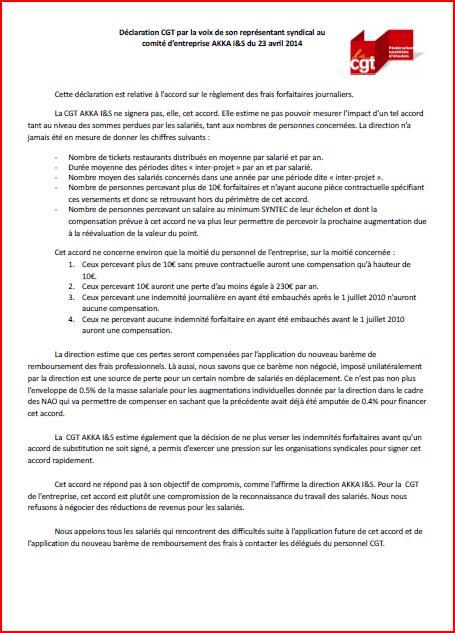 Déclaration CGT au comité d'entreprise AKKA I&S du 23 avril 2014