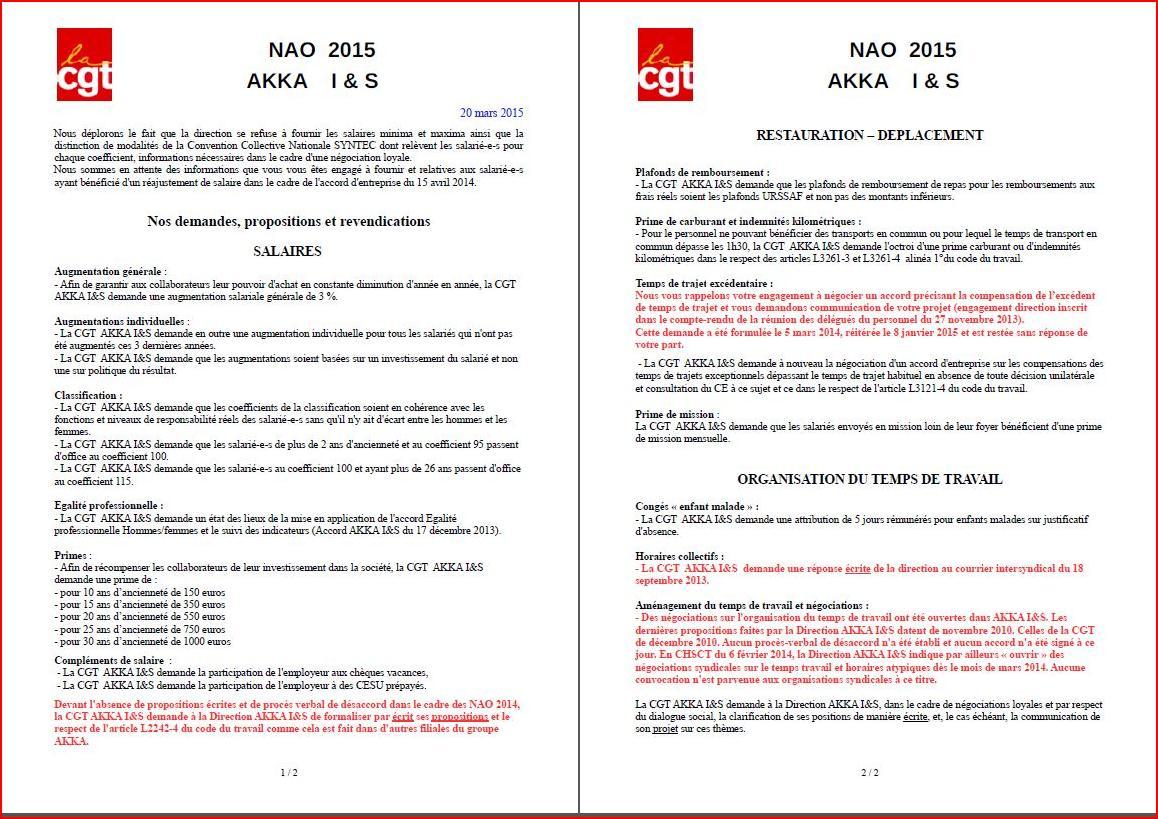NAO AKKA I&S 2015 - premières revendications CGT