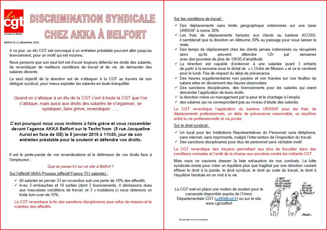 Discrimination syndicale chez AKKA à Belfort